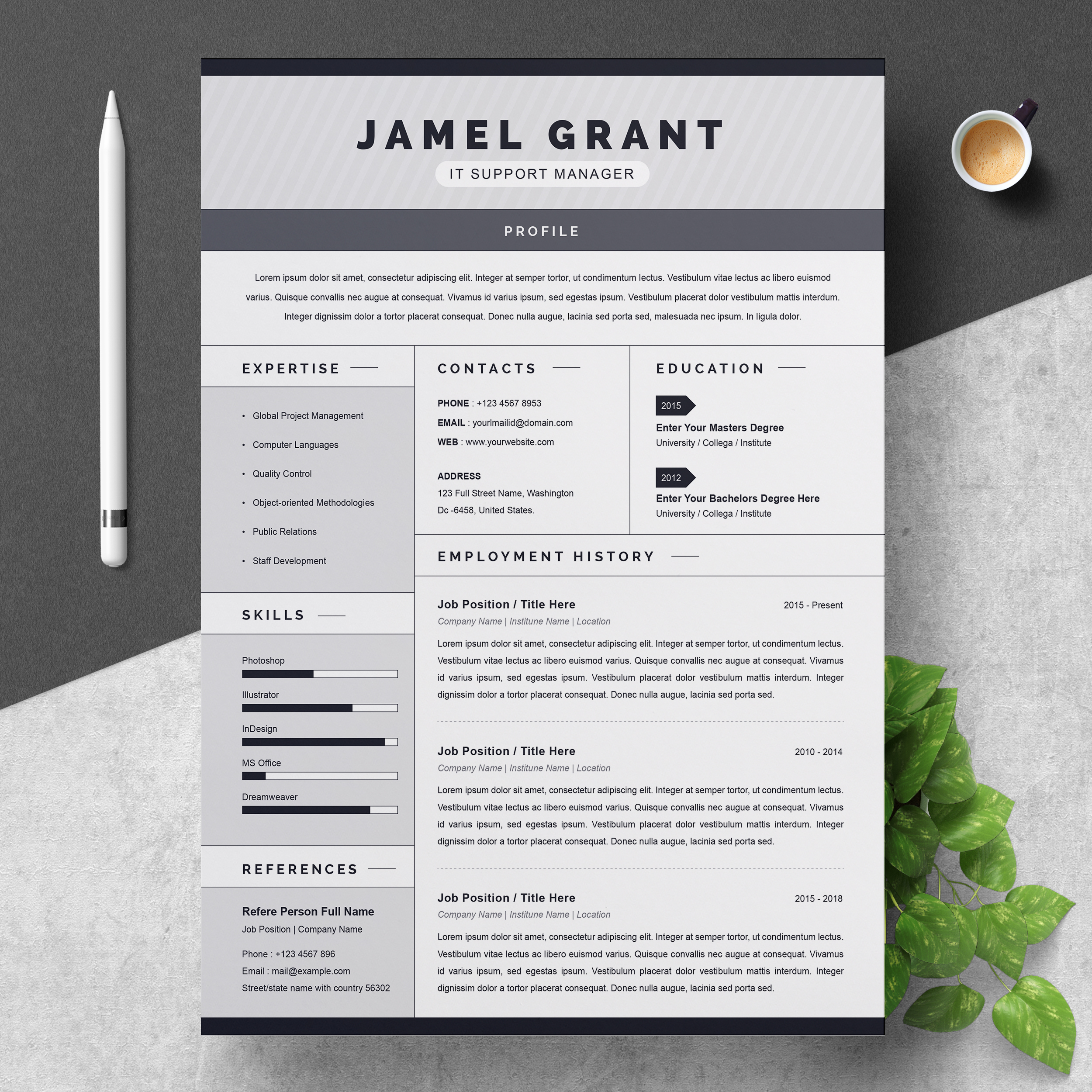 One Page Creative Resume Template With Cover Letter Resumeinventor