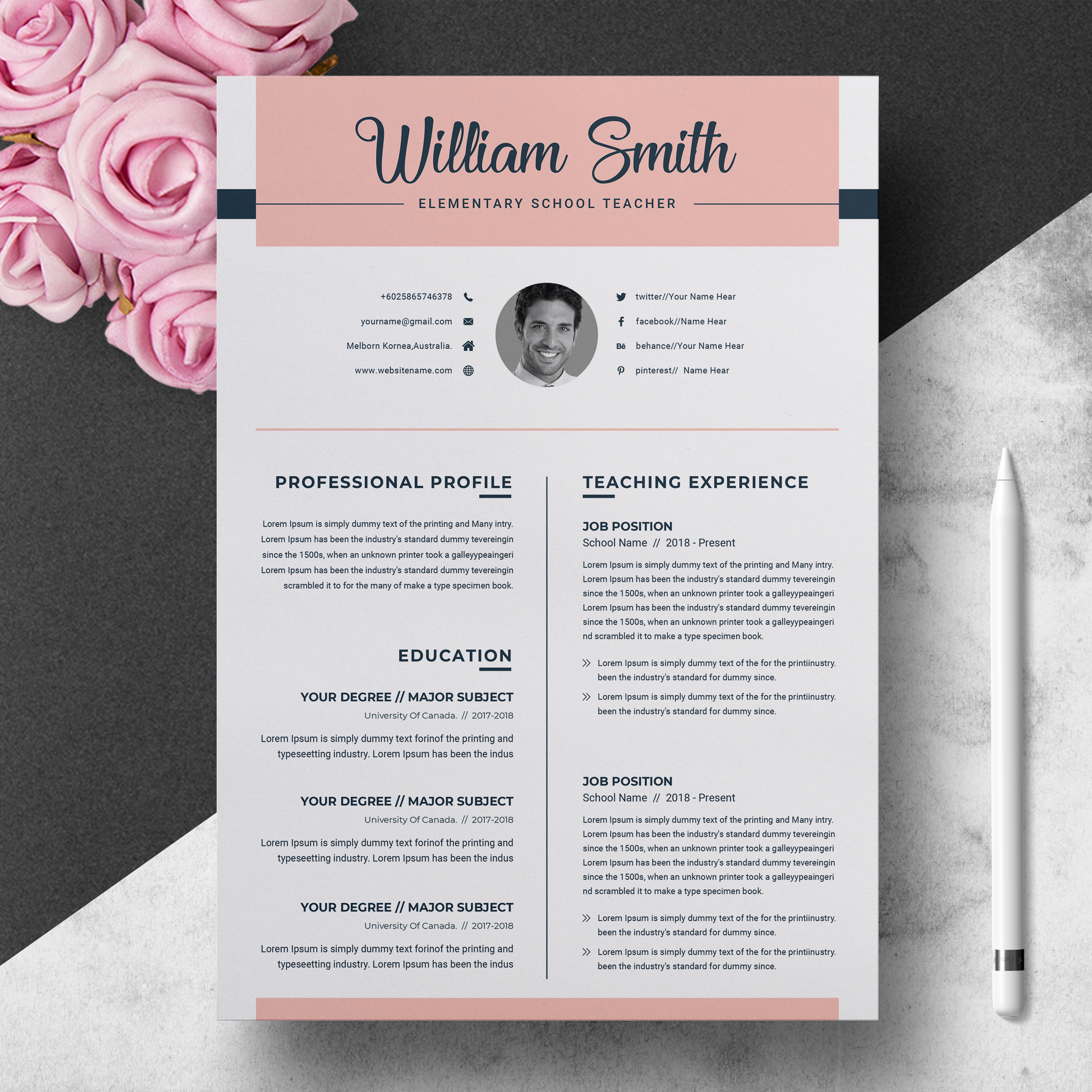 Teacher Resume Template For Word Pages Resumeinventor