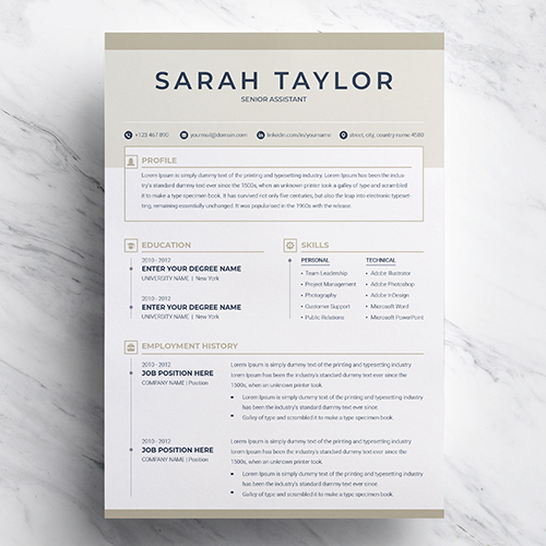 Free Senior Assistant Resume Template