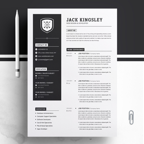 Best Web Designer And Developer Resume Template