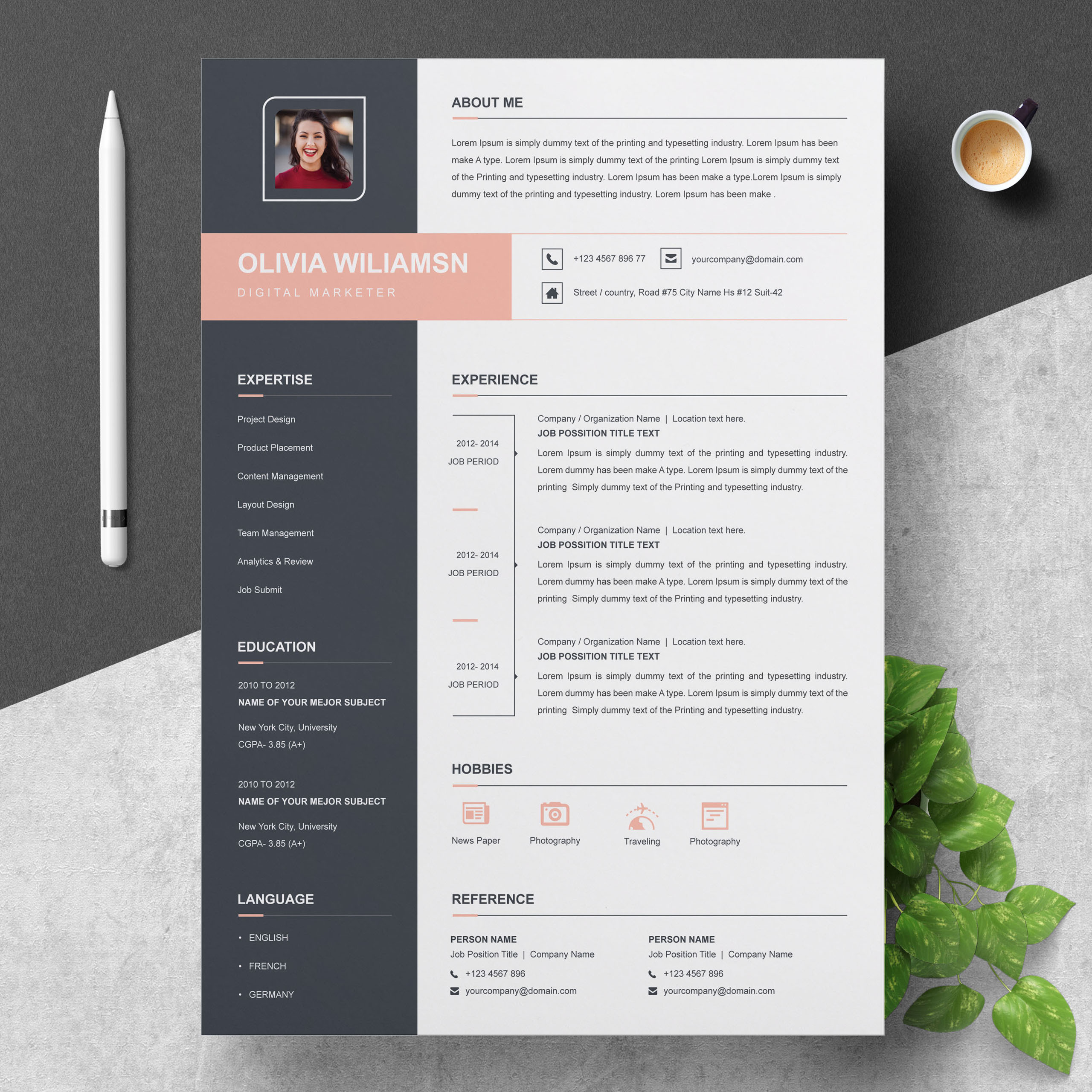 Resume Template Word Cv With Cover Letter Resumeinventor