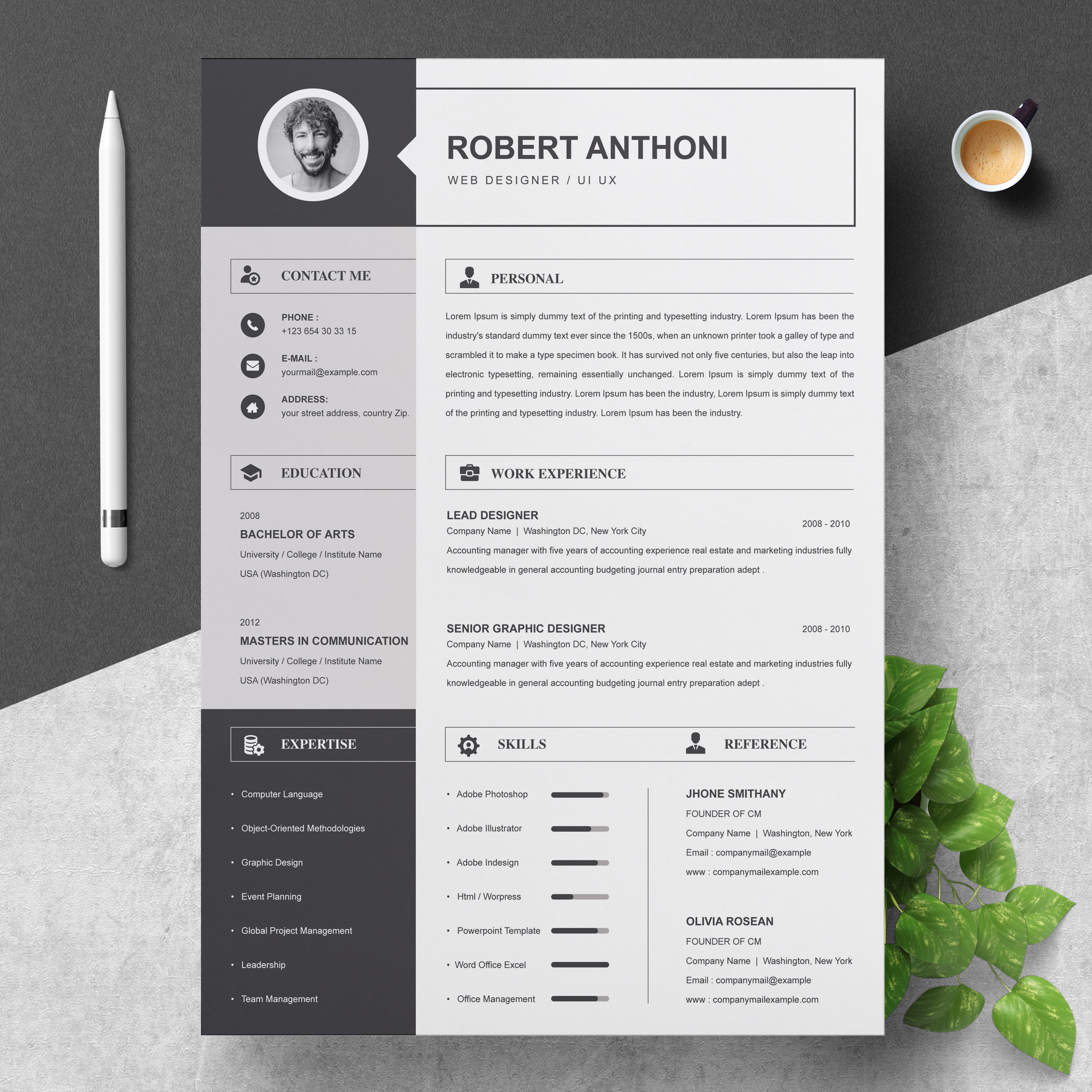 Black And White Resume Template 2021