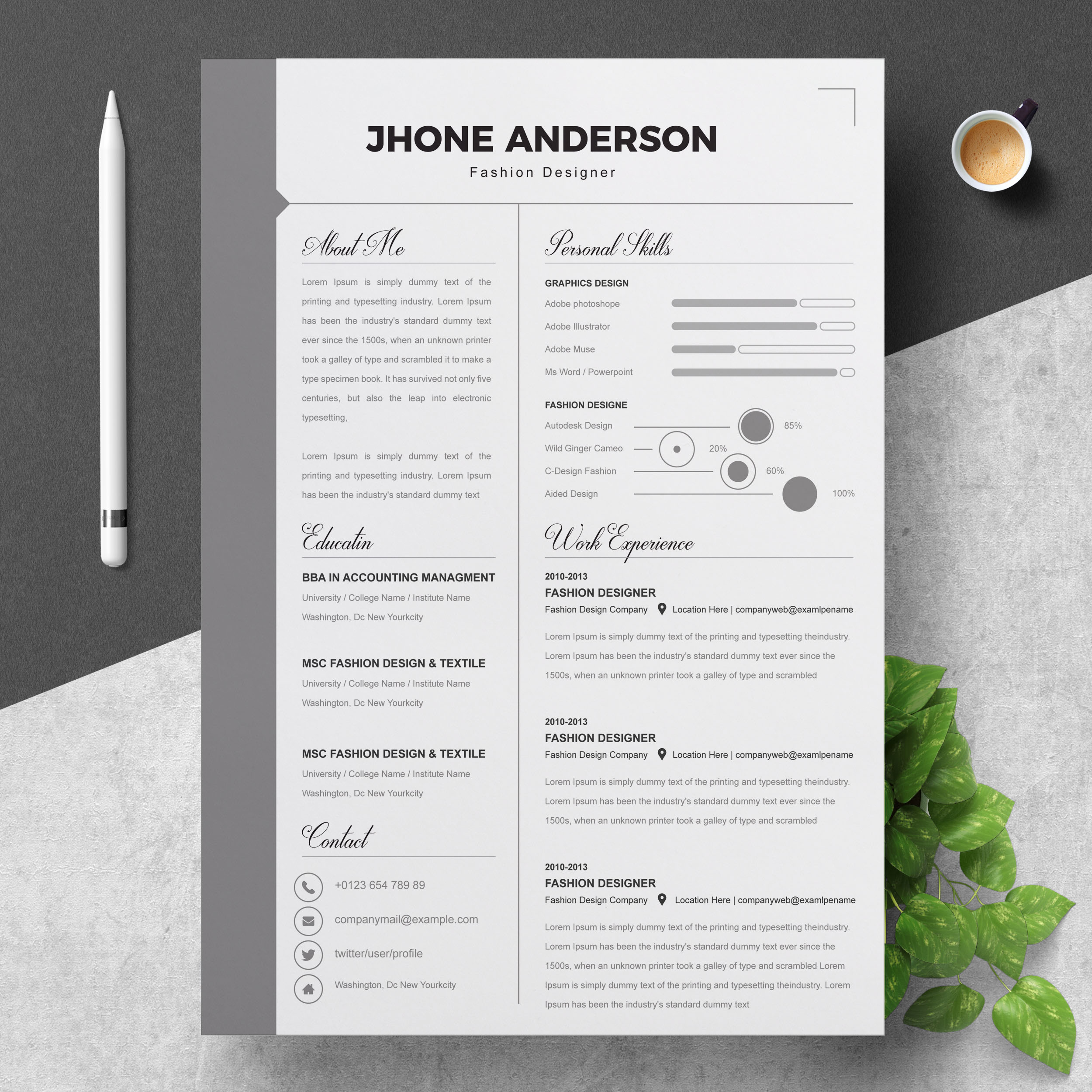 infographic fashion designer resume