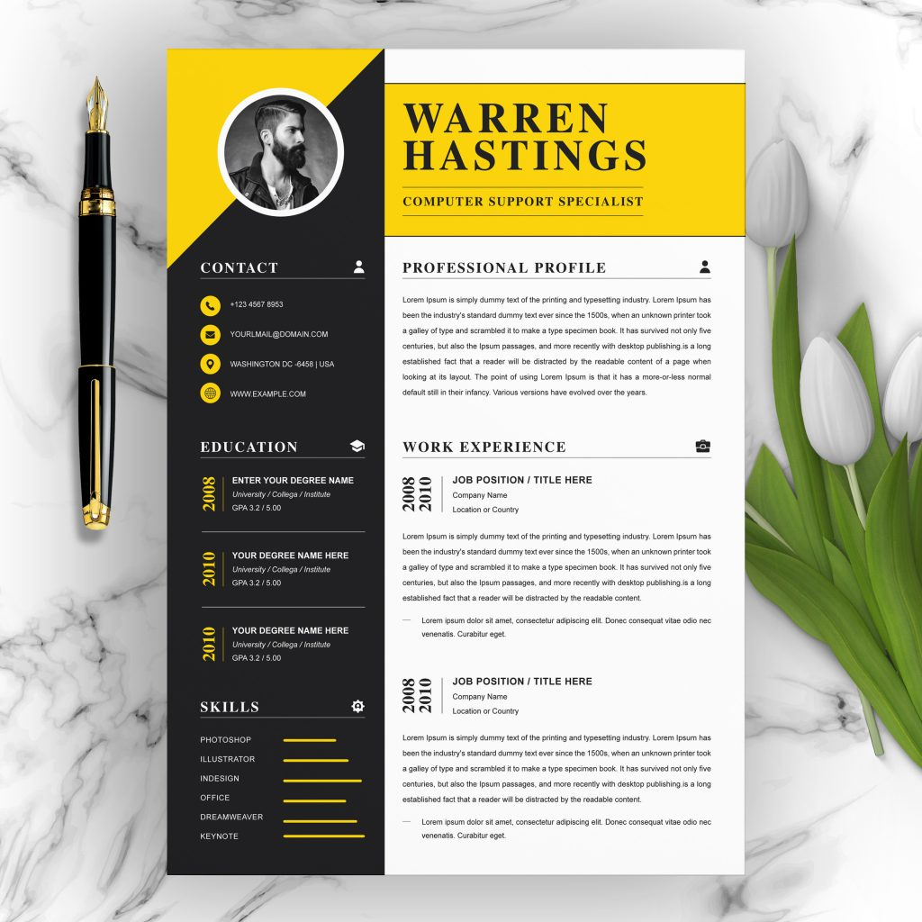 professional resume template with multiple file formats
