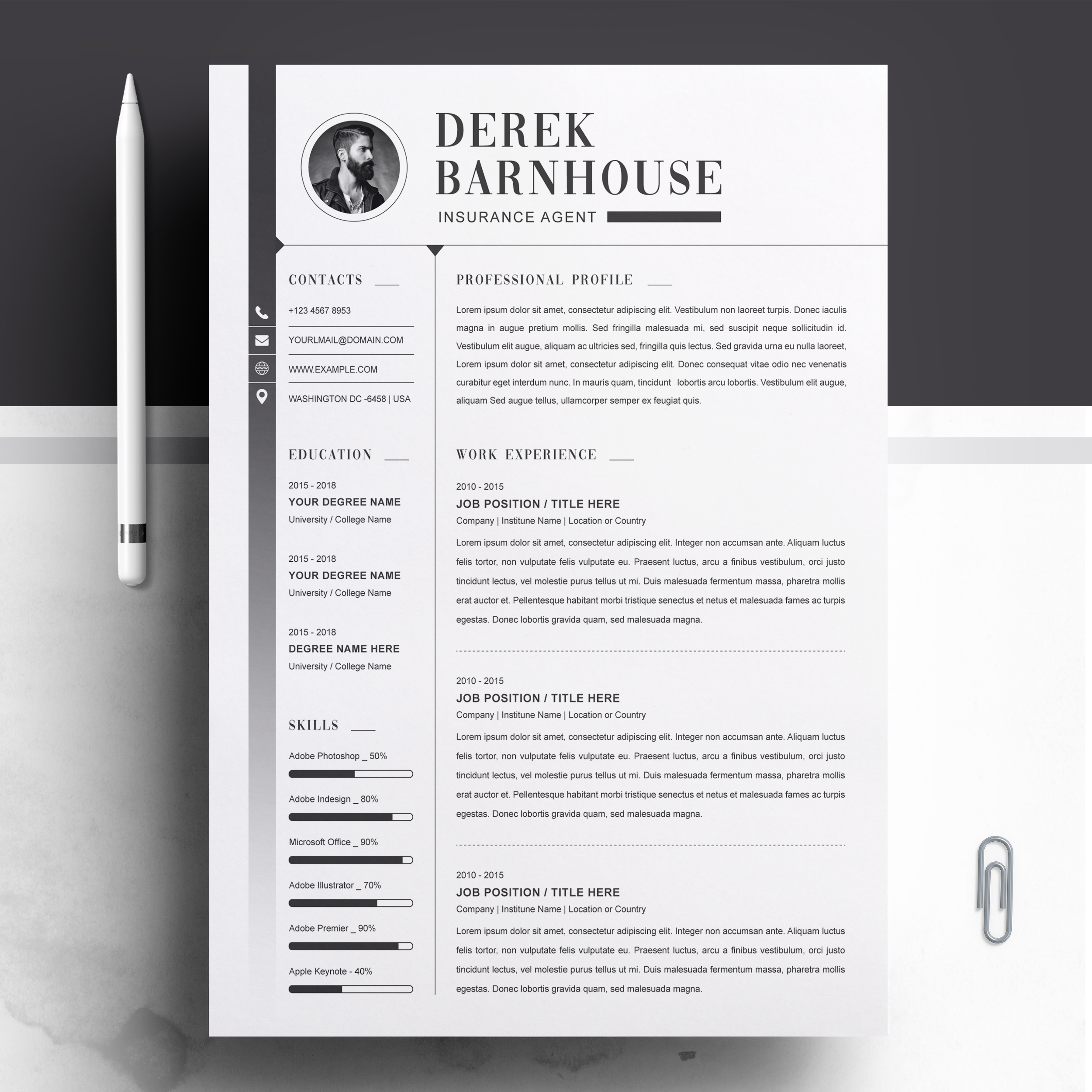 Insurance Agent Resume Template