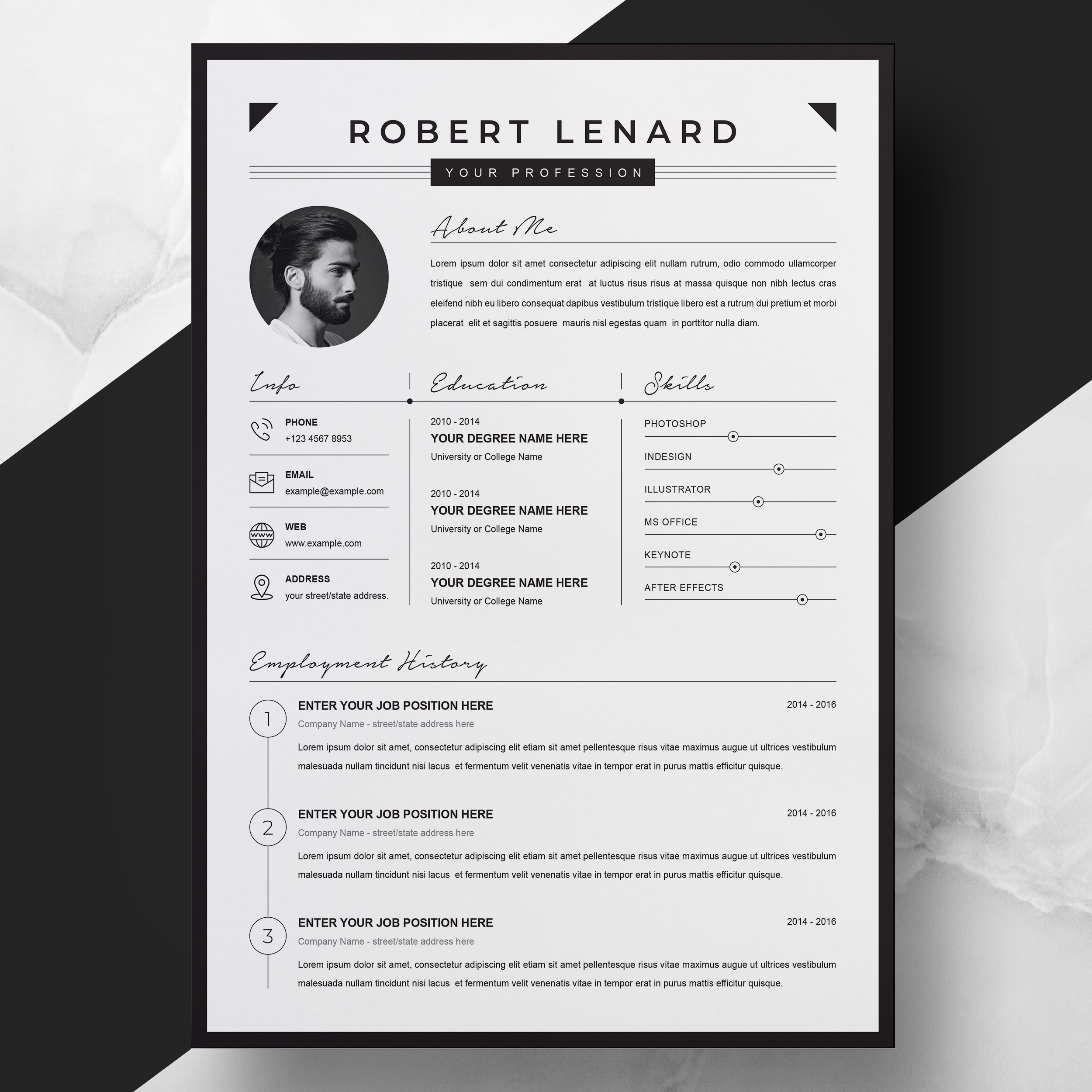 Black And White Minimalist Resume 2021