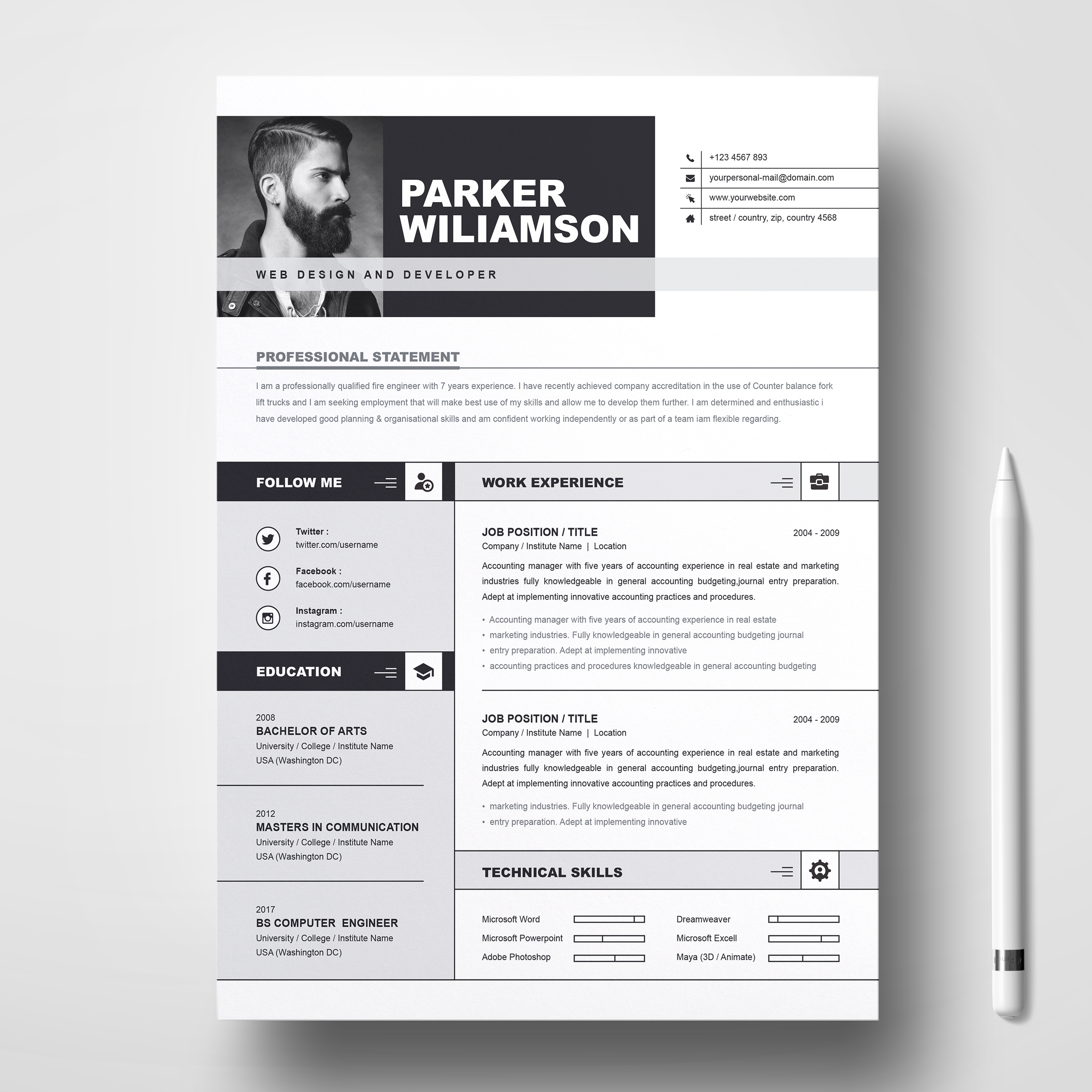 Resume Template Cv Cover Letter Resumeinventor