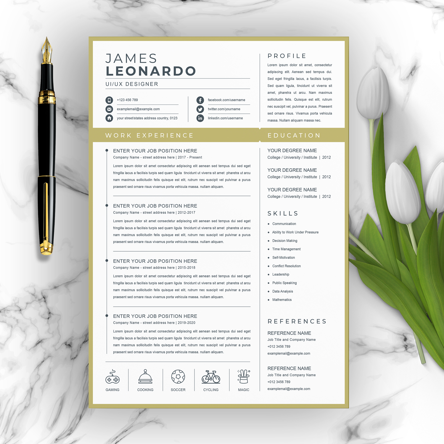 One Page Resume Template 2021