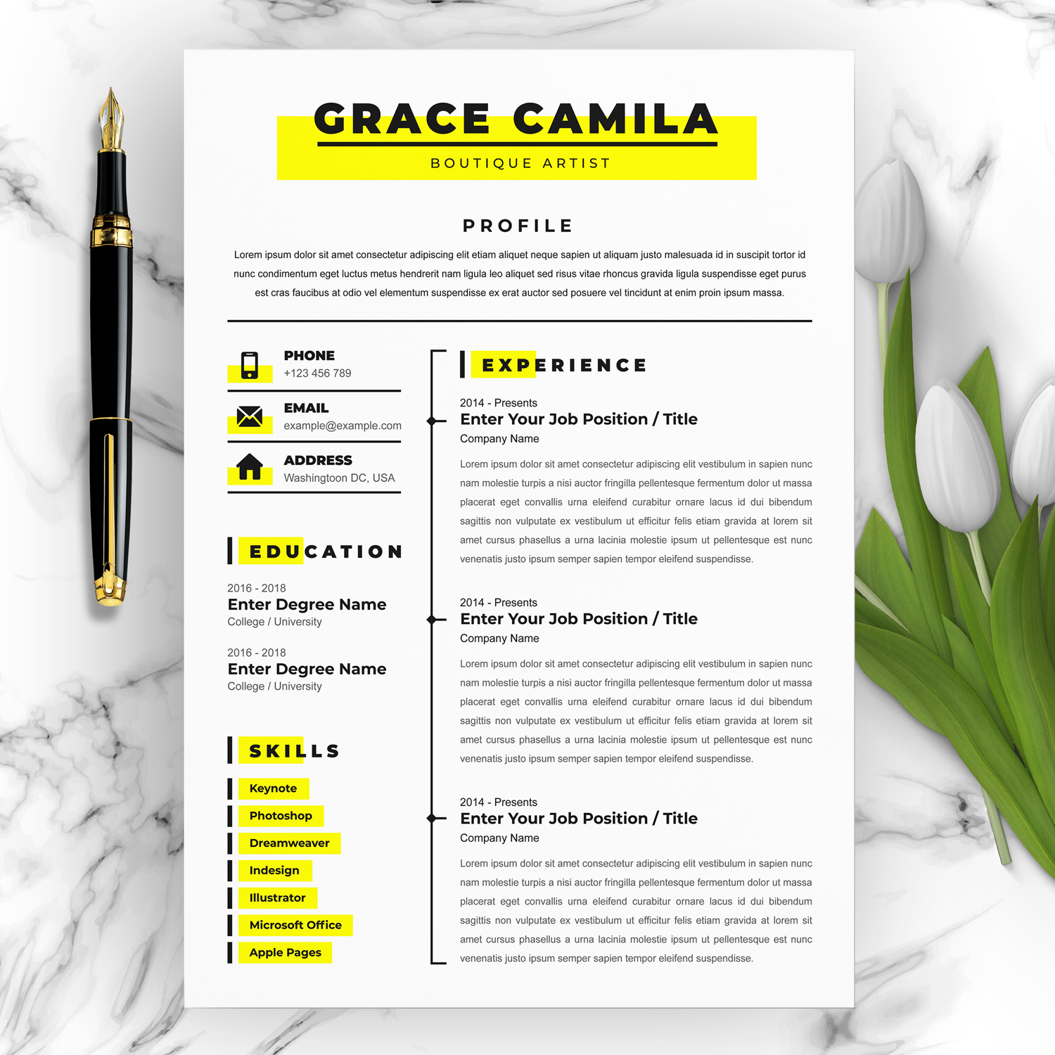 Boutique Artist Resume Template