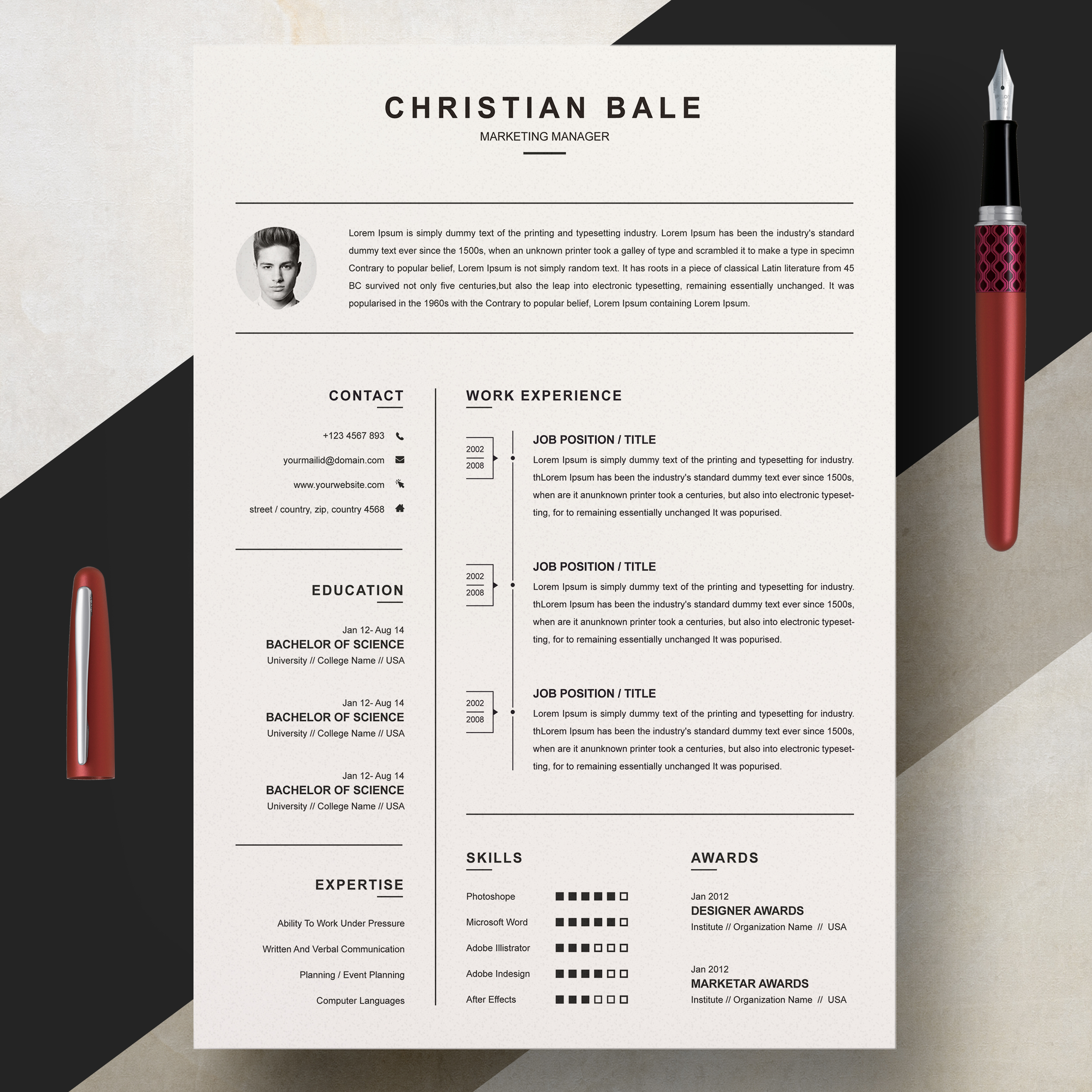 Marketing Manager Free Resume Template