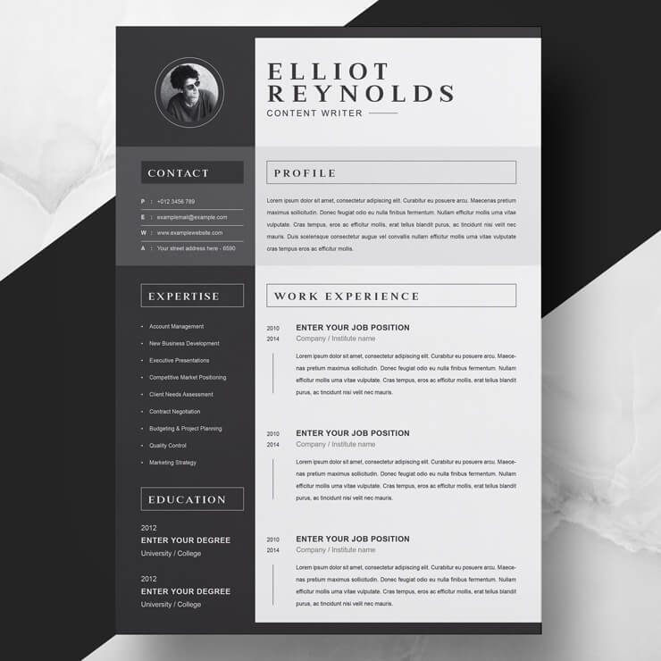 Creative Content Writer Resume Template.