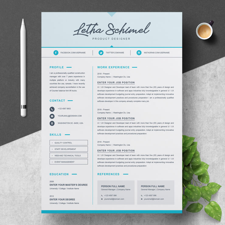 product designer resume template