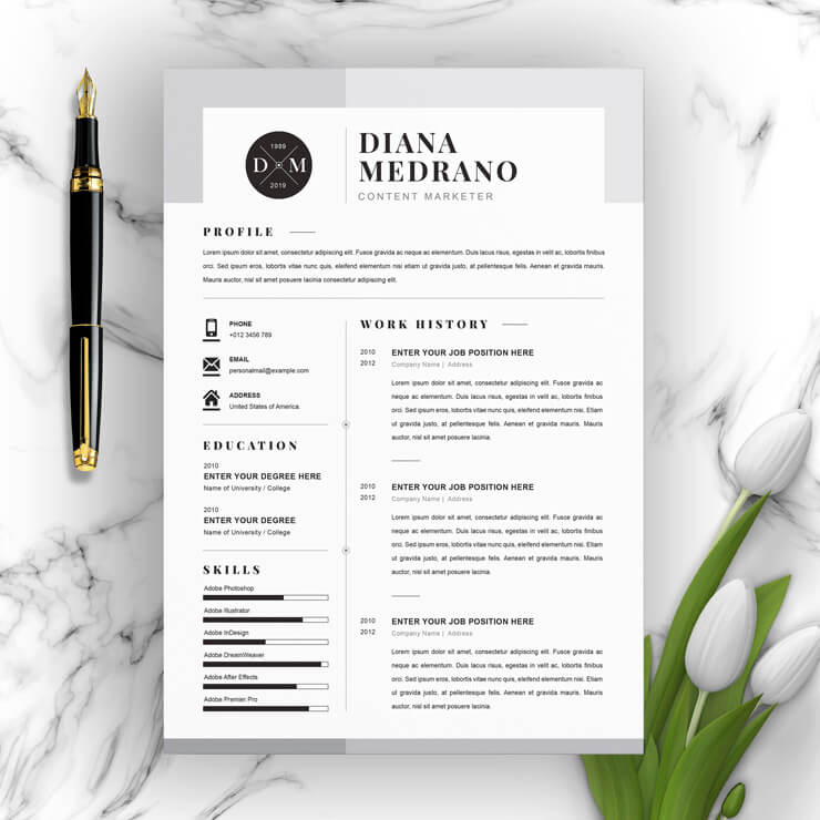 Content Marketer Resume 2021 template