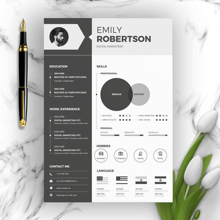 One Page Infographic Resume Template With Cover Letter