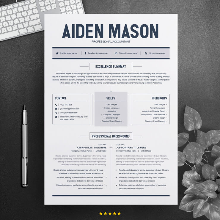 Professional Accountant Resume Template.