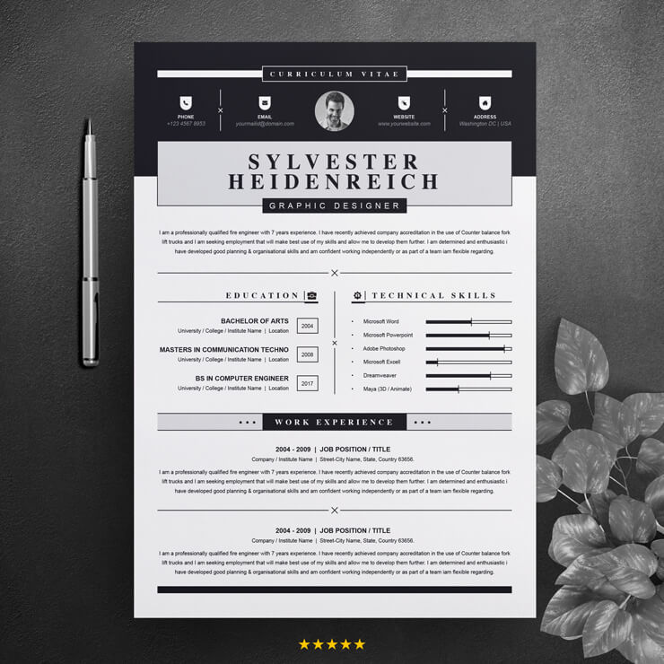 Black and White CV | Curriculum Vitae