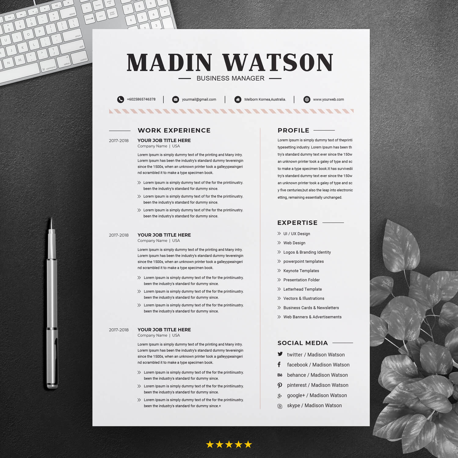 Free Simple Professional Job Resume Template