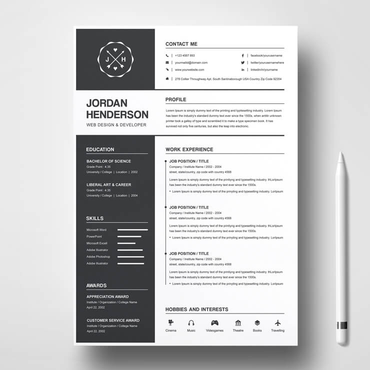 Junior photographer resume template