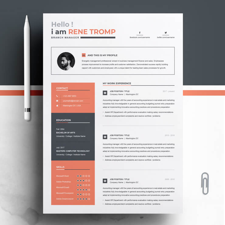 Branch Manager Resume Template.