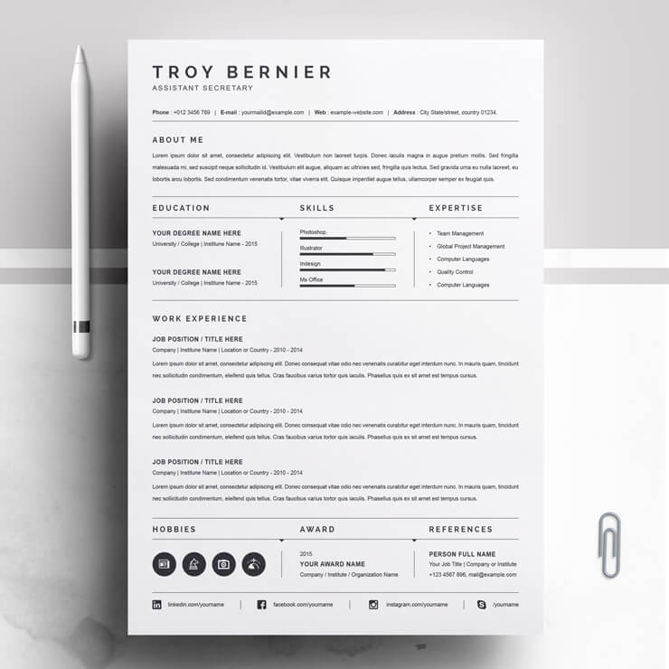 Assistant Secretary Resume Template